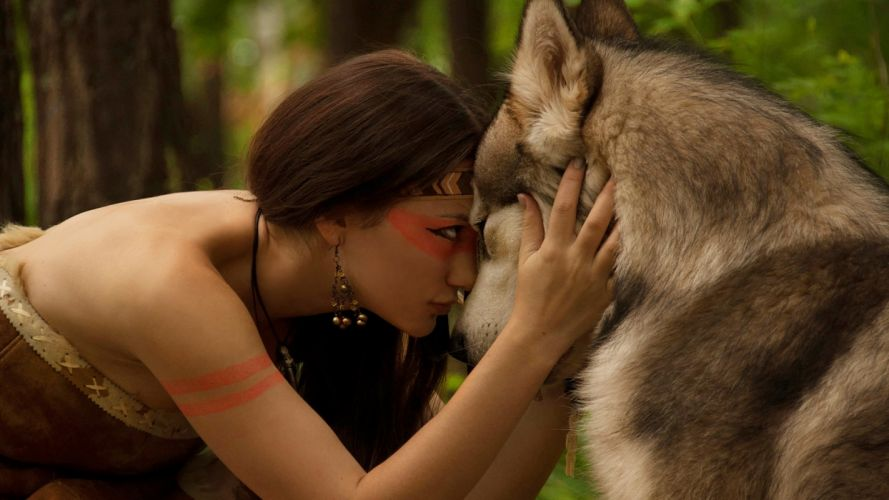native american indian fantasy wolf wolves women females girls brunettes sexy babes face mood love trees forest wallpaper