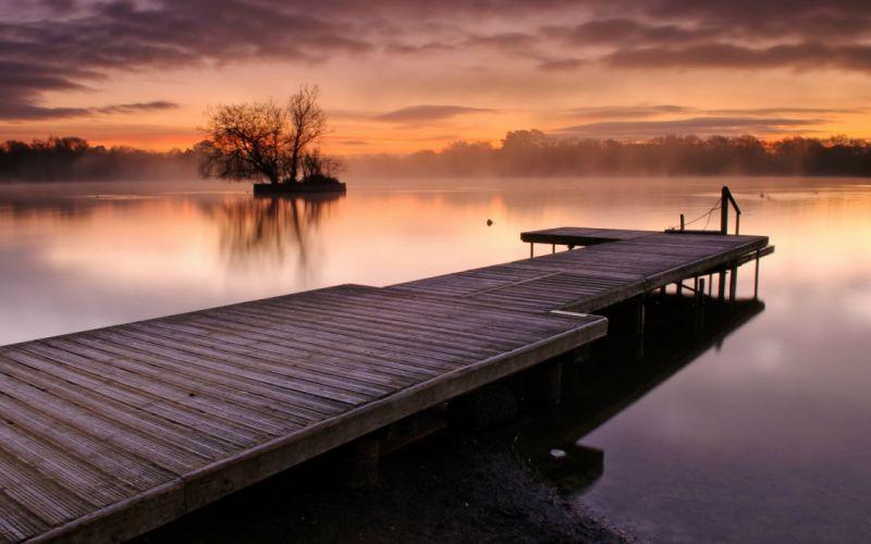 reflection lakes water sunrise sunset sky clouds fog mist haze trees shore dock pier architecture wallpaper