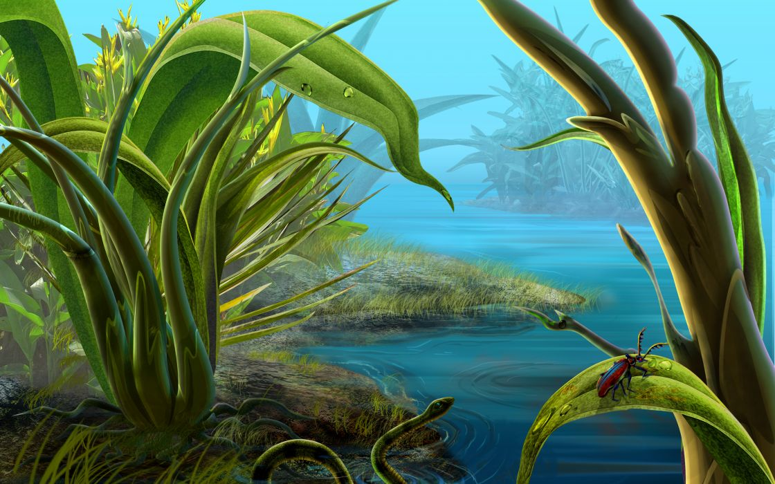 art paintings nature rivers lakes pond shore beaches water leaves plants animals snake insects bugs fantasy wallpaper