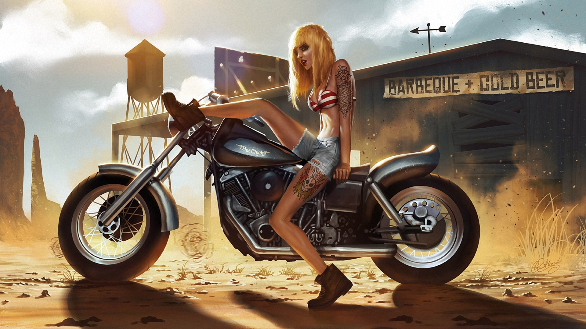 Art Girl Motorcycle Tattoo Tattoos Dust Sand Anger Women Females Sexy