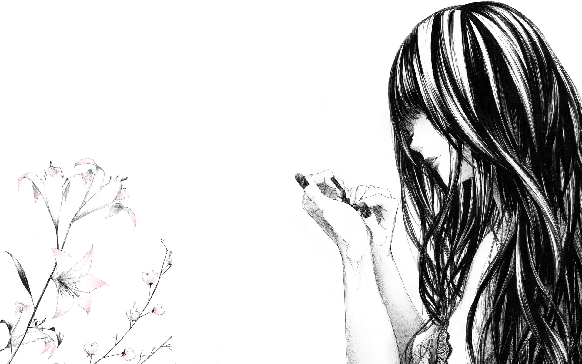 unique animewall: wallpaper anime, bw, girl, black and white