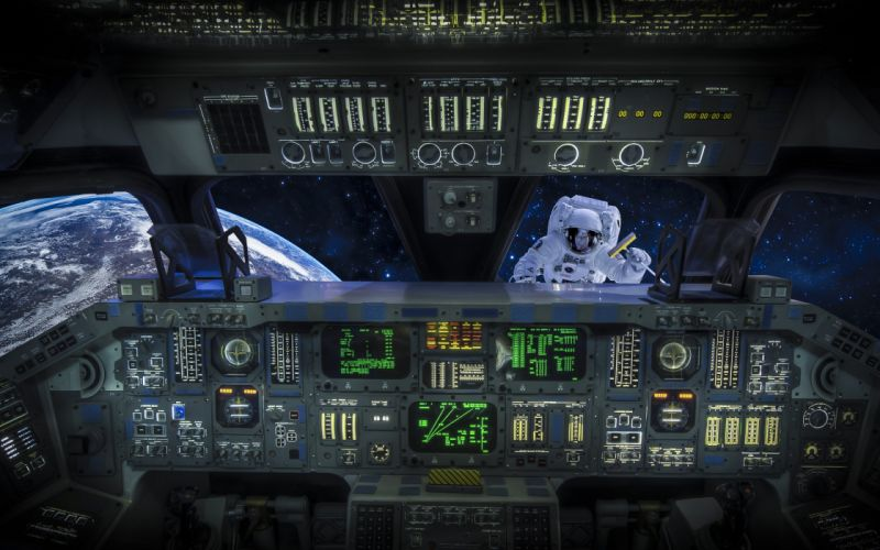 Astronaut cosmonaut cab shuttle space situation vehicles people planets earth stars space cockpit text tech mech sci-fi reflection window wallpaper