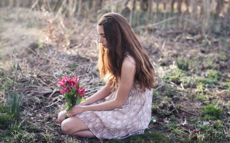 girl field flowers mood women females brunettes babes wallpaper