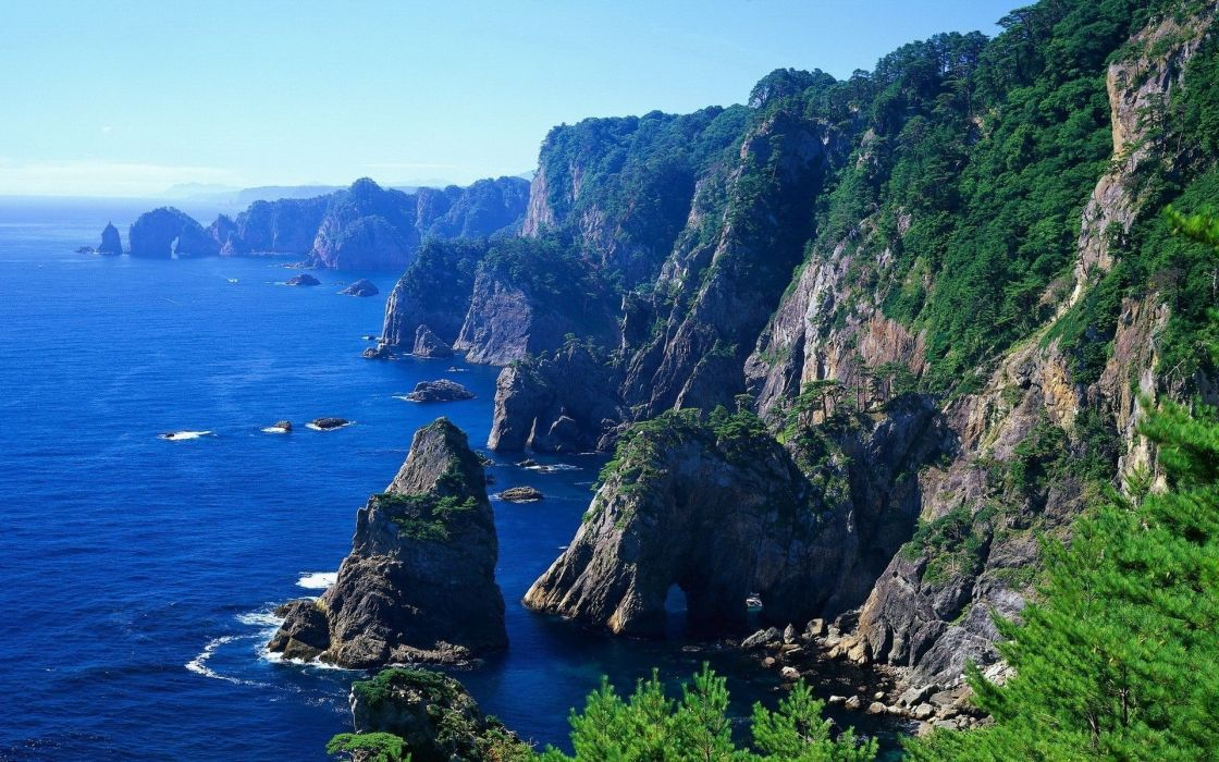 Landscape  water  mountains  grass  herbs  trees  sky cliff rocks ocean sea sky coast shore wallpaper
