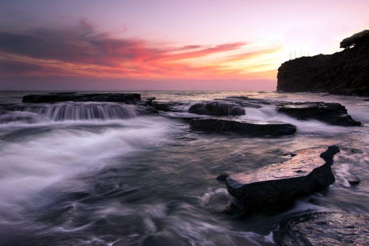 sea aeYaeY cliffs sunset landscape ocean waves beaches shore coast sky clouds wallpaper