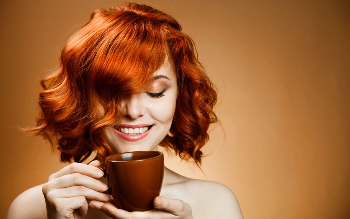 smile  hair  coffee  cup  drink face mood women models females girls coffee tea redhead wallpaper