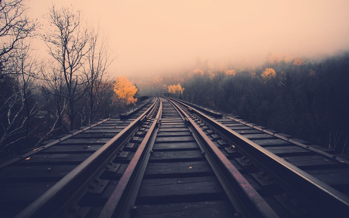 train tracks railroad stell metal trees landscapes autumn fall haze fog mist wallpaper