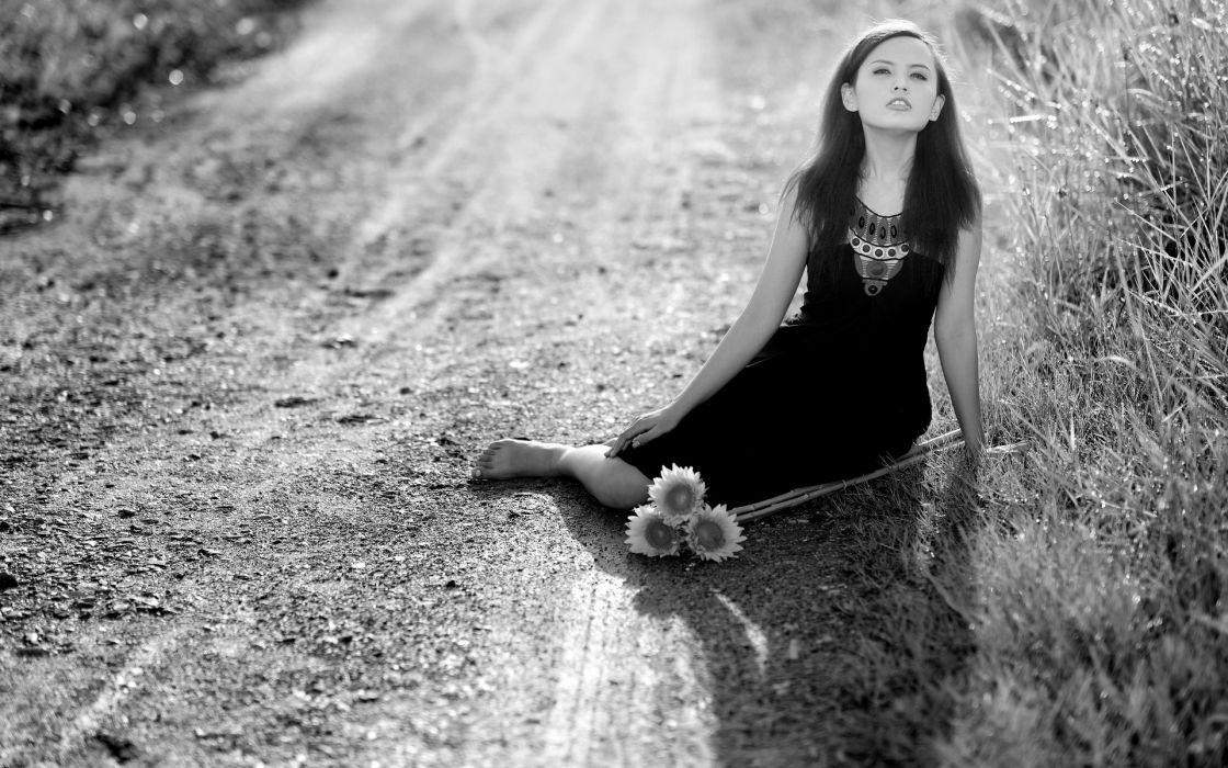 black white monochrome flowers roads grass mood asian oriental women females girls brunettes babes wallpaper