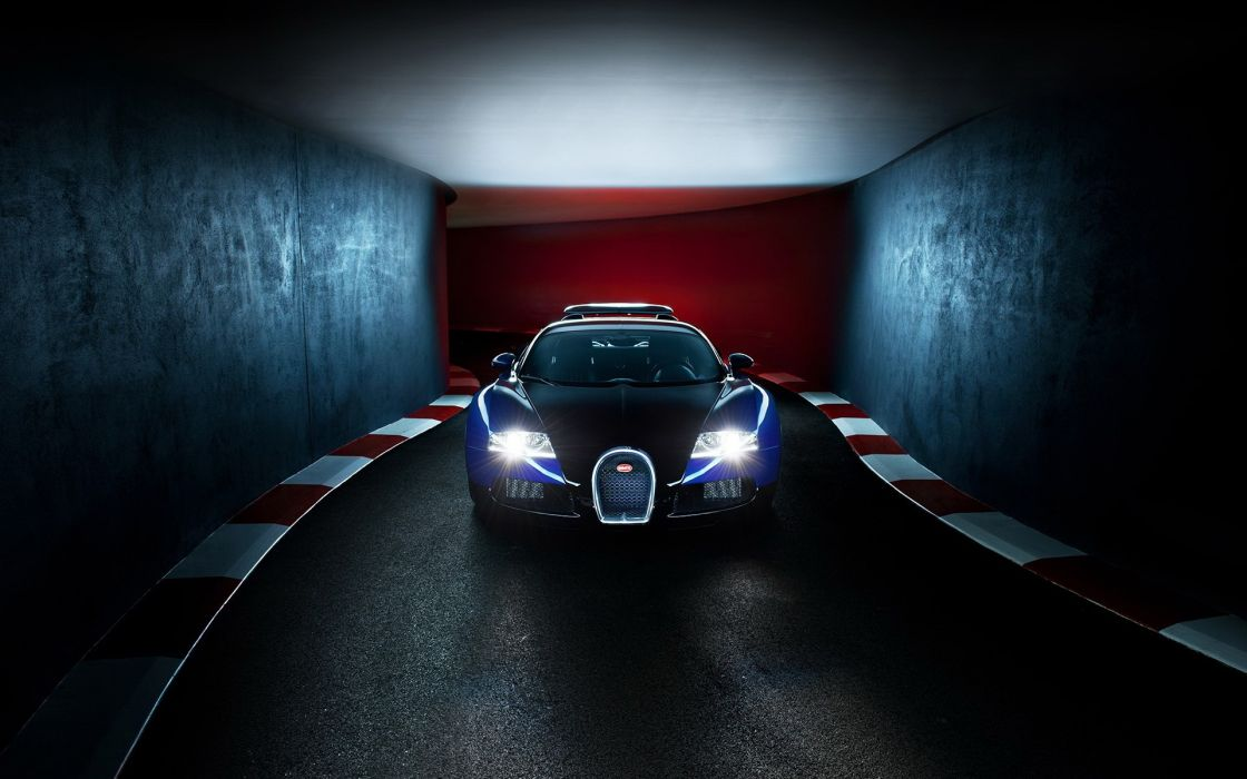 Bugatti Veyron supercars lights tunnel roads wallpaper