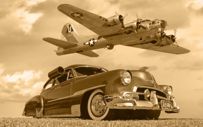 Chevrolet B17 car plane aircrafts lowrider classic military flight fly sepia monochrome sky clouds wallpaper