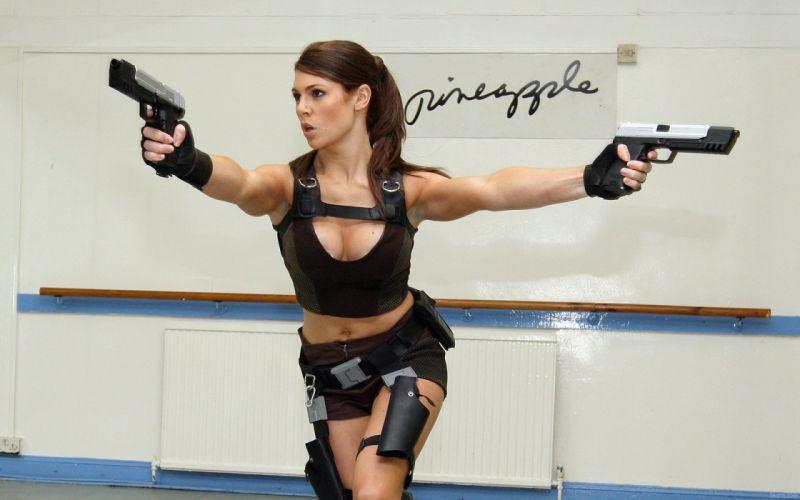 Alison Carroll Tomb women Raider sexy lara croft weapons models brunettes handguns pistols babes movies cosplay wallpaper