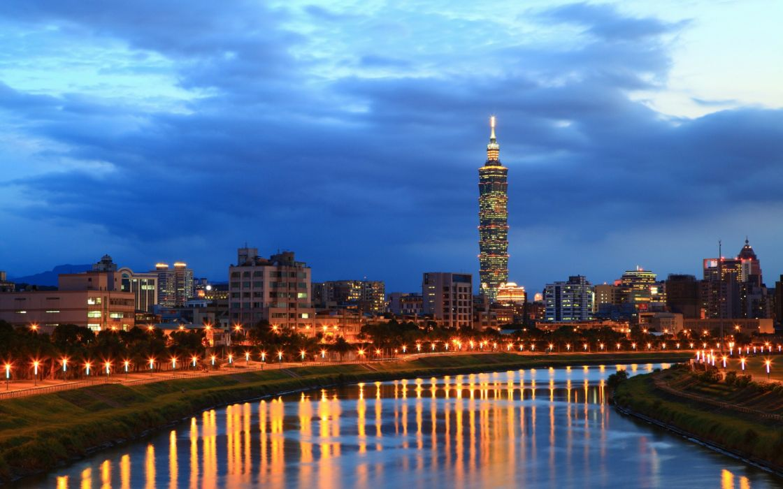 China Taiwan Taipei city river night sky clouds lights reflection buildings skyscraper sky clouds wallpaper