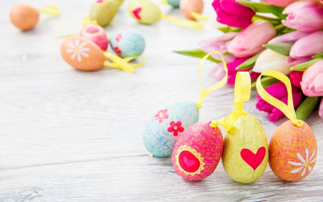 flowers tulips eggs Easter wallpaper