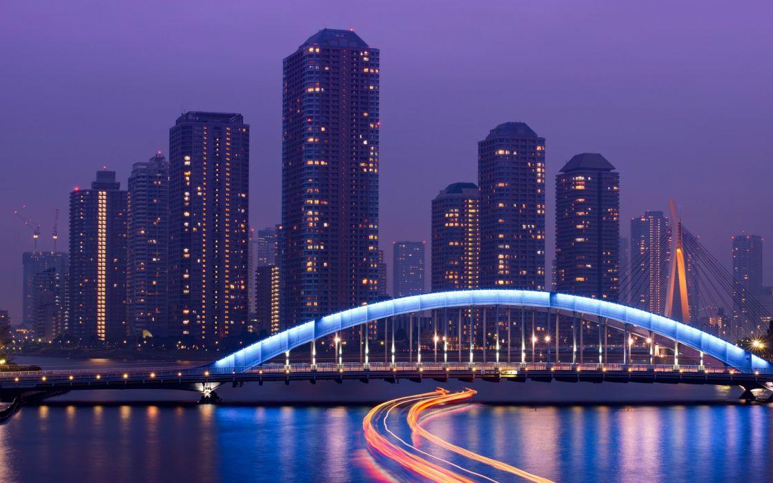 Japan Tokyo exposer rivers water reflection bridges architecture buildings skyscrapers night lights wallpaper