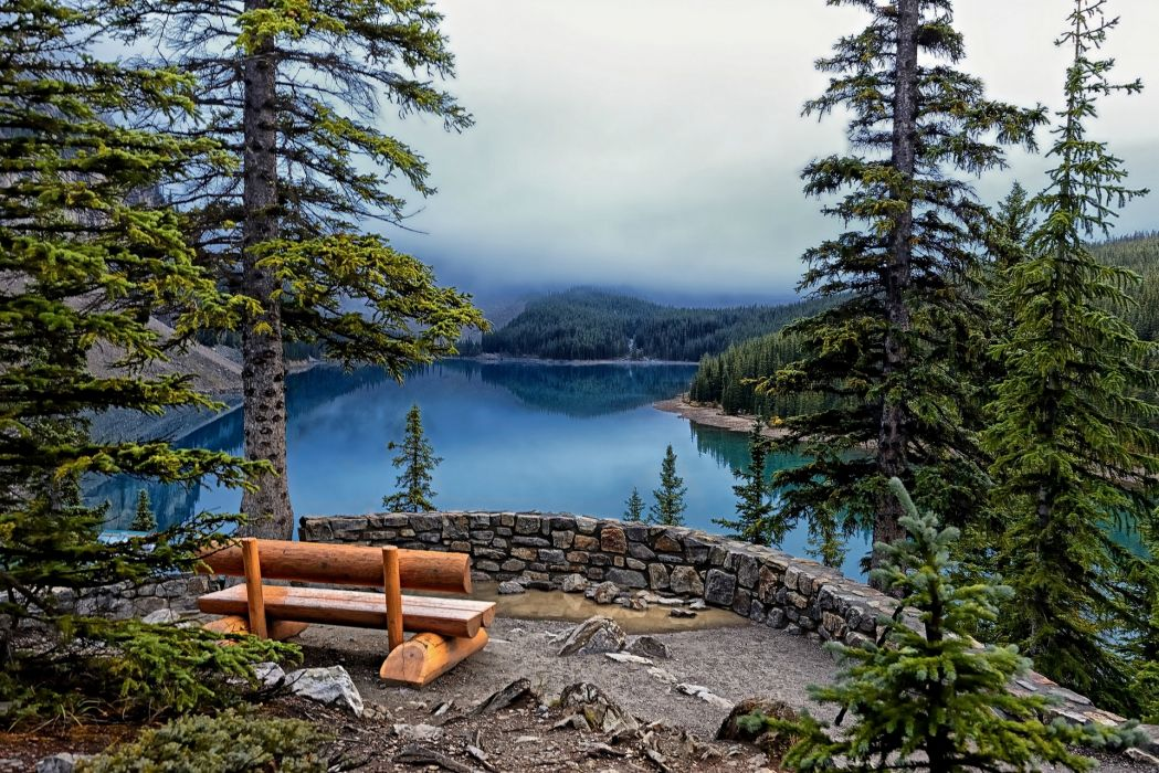 Lake Moraine Banff National Park lake trees firs bench forest reflection mountains slouds fog hdr wallpaper