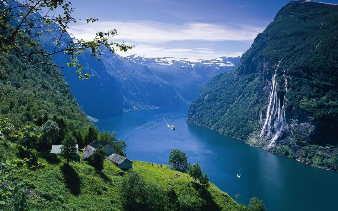 landscape fjord Norway water sea ocean buildings architecture houses mountains waterfall sky clouds trees wallpaper