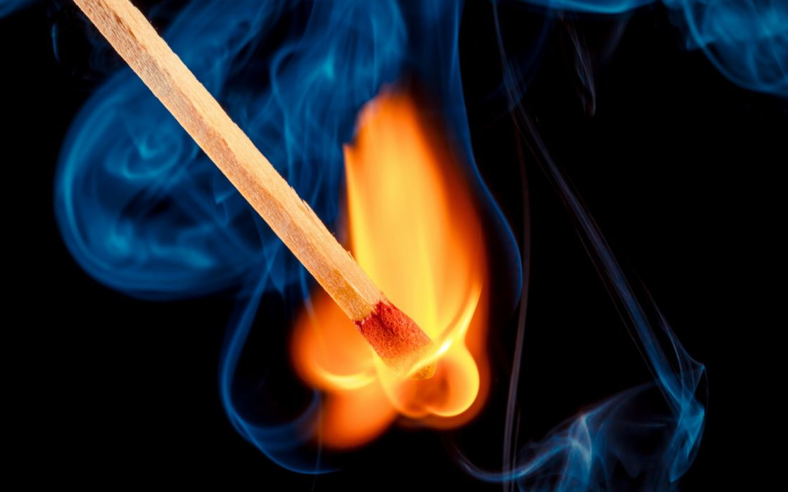 match fire smoke close-up flames art wallpaper