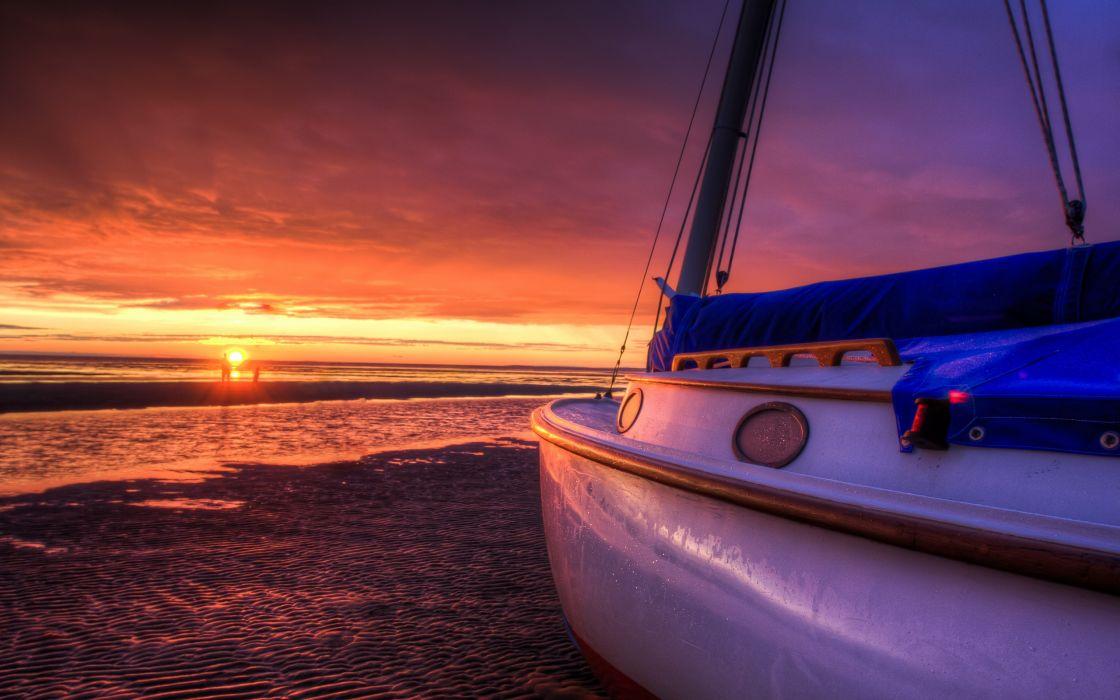 nature landscape sky clouds sunset beach sun sea boats waves wallpaper