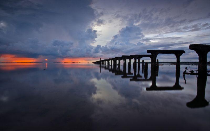 ocean sea reflection water sunset sunrise sky clouds storm rain architecture bridges wallpaper