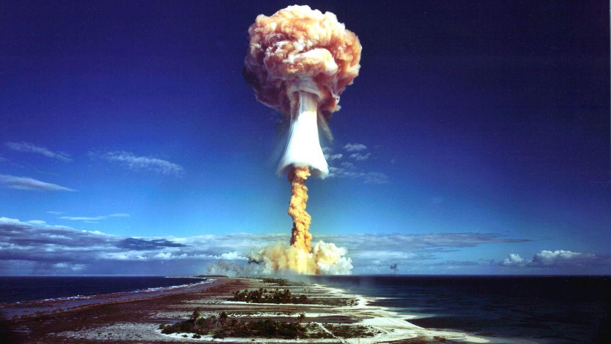 sea bomb atomic landscape ocean nuclear islands sky clouds explosion radiation wallpaper