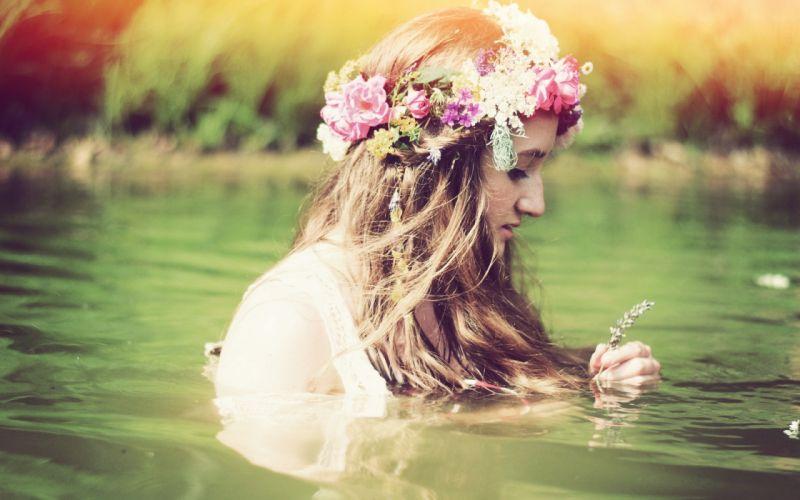 mood nature lake water women females girls brunettes babes flowers wallpaper