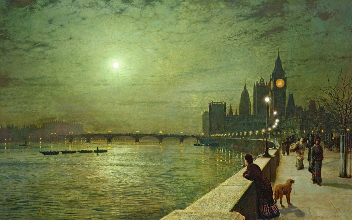 moon  painting  John Atkinson Grimshaw  promenade  night people art buildings cities rivers wallpaper