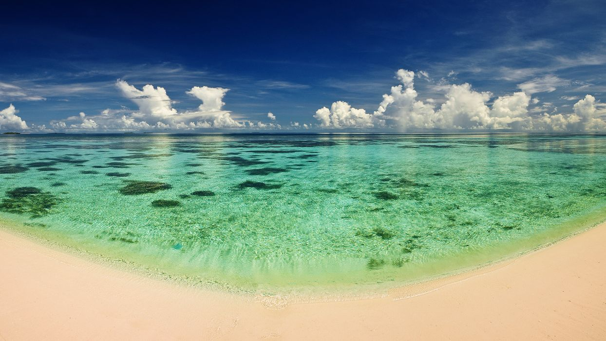 ocean  sand  water  heat  beach  transparency  Sea reflection sky clouds wallpaper