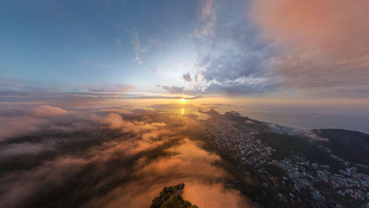 Rio de Janeiro cities buildings ocean sea reflection sky clouds sunset sunrise fog mist landscapes wallpaper
