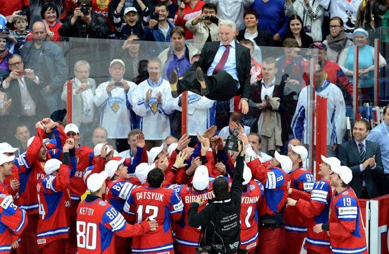 Russia Hockey sports teams people crowd festive celebration men males mood happy wallpaper