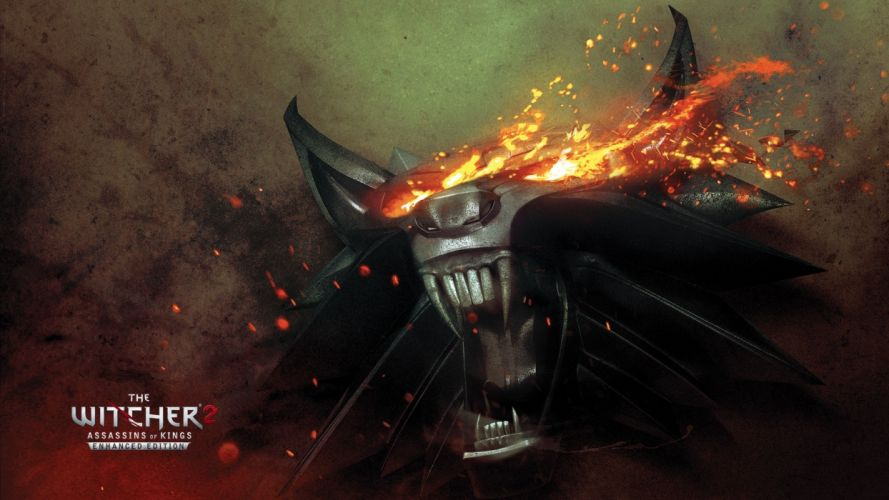 The Witcher 2 demon fire sparks eyes wallpaper