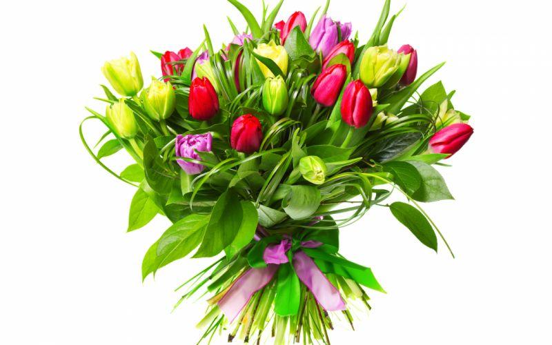 tulips flower buds bouquet ribbon easter wallpaper