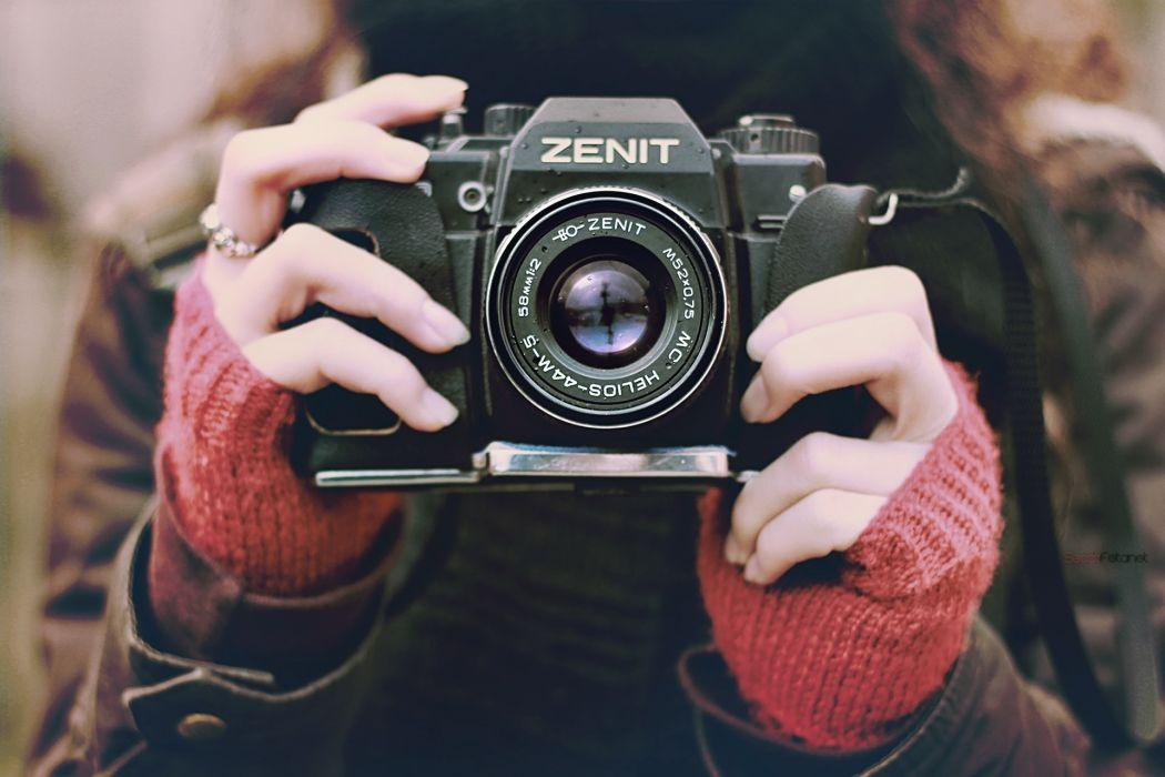 Camera  Zento lens glass photography women females girls brunettes reflection wallpaper