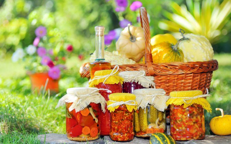 canning jars glass vegetables still life summer oil wallpaper