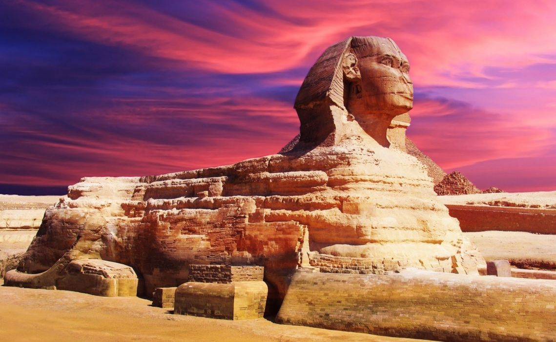 Egypt  sculpture  sphinx  landmark architecture sky clouds sunset wallpaper
