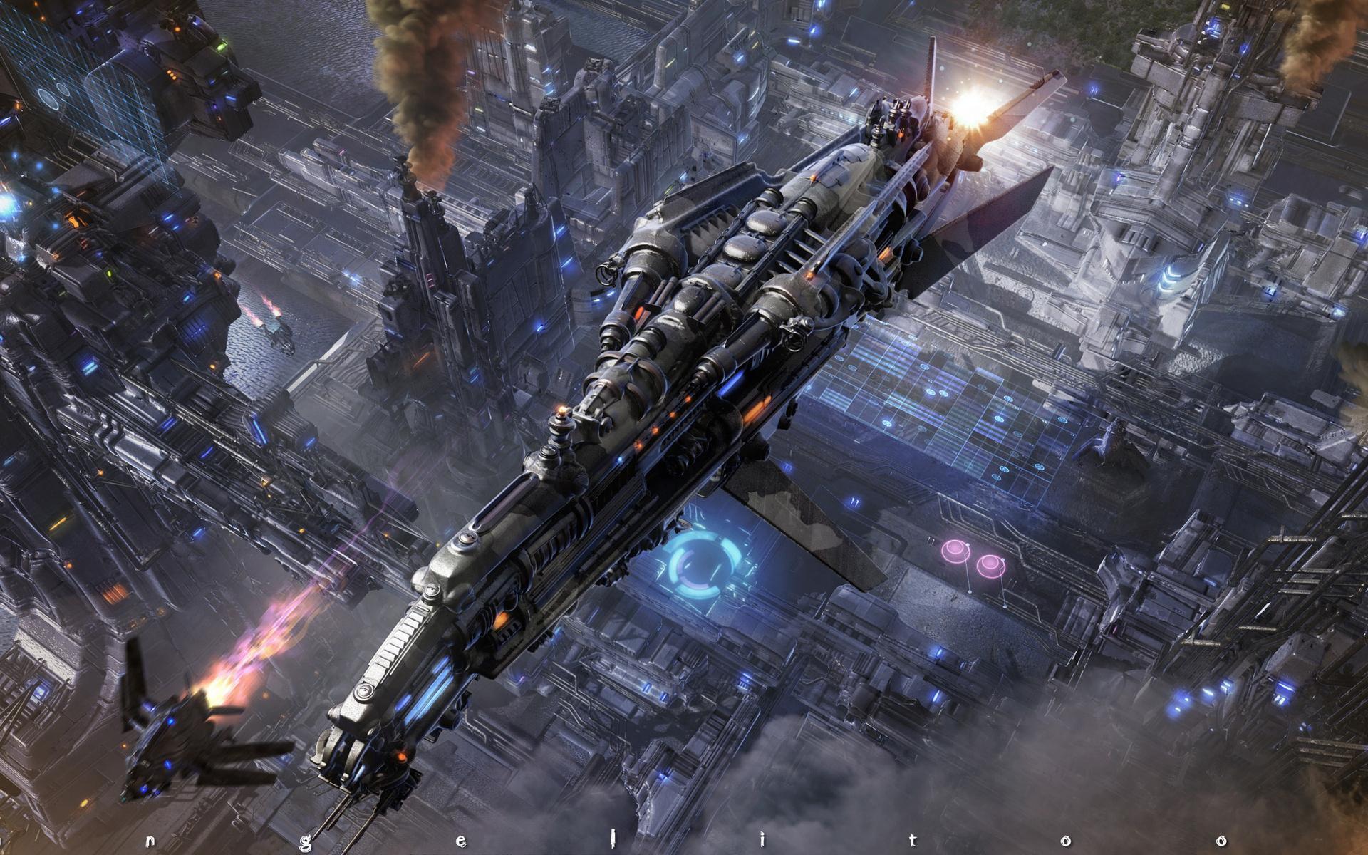 Futuristic Spaceship Spacecraft Cities Wallpaper