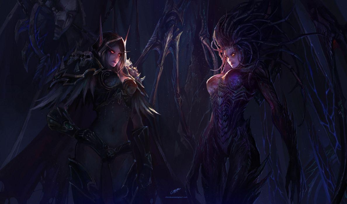 Girls  World of Warcraft  StarCraft  chenbo  Sarah Kerrigan  Art  Sylvanas Windrunner dark demons fantasy women females girls wallpaper