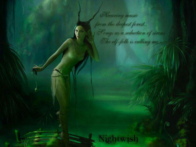 Nightwish Tarja Turunen band groups gothic heavy metal women females girls babes brunettes fantasy fairy wallpaper