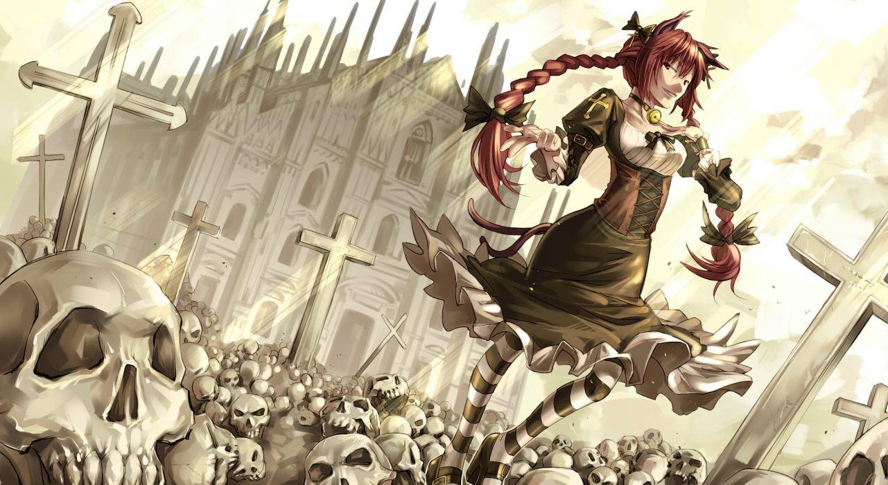 alice in wonderland anime girl dark skulls cross cathedral buildings wallpaper