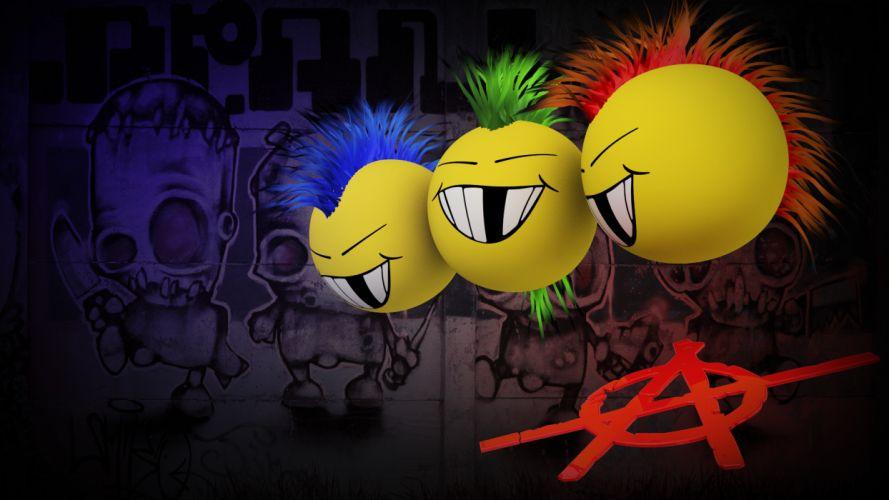Anarchy Mohawk dark graffiti punk mohawk cartoon smiley face humor wallpaper
