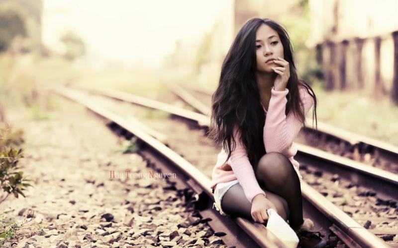 asian oriental tracks railroad train mood women females girls brunettes face reflection sexy babes model wallpaper