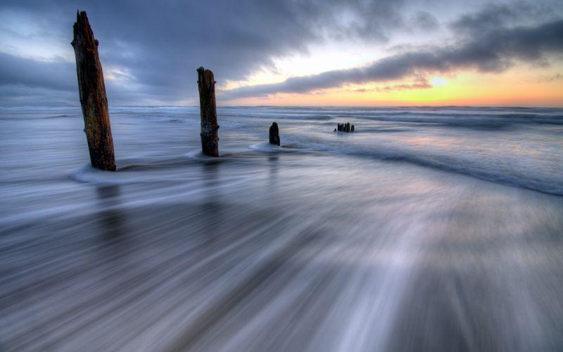 beaches shore timelapse exposure waves ocean sea sky clouds post sunrise sunset hdr wallpaper