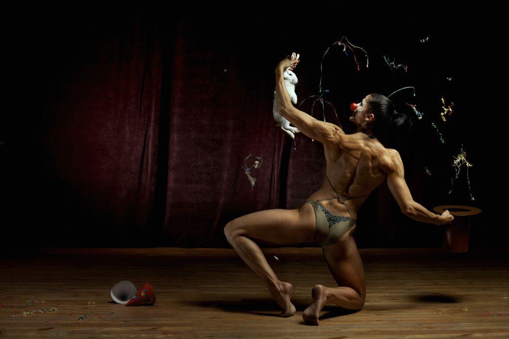 Bodybuilding Girls Sports fitness muscle women females sexy babes fantasy magic rabbit humor wallpaper