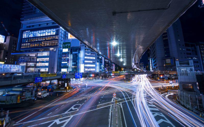 Buildings Night Overpass Timelapse Road cities traffic night lights wallpaper
