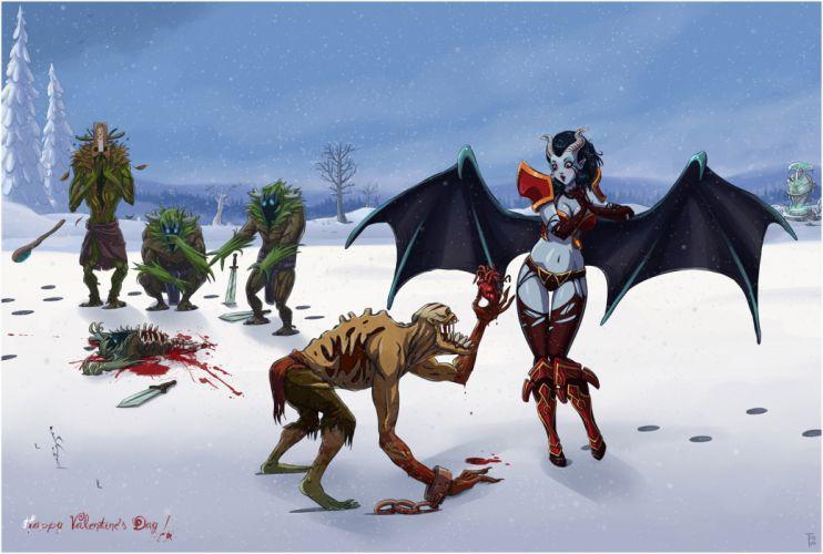 Dota Monster Snow Winter Heart Blood Valentine's Day dark fantasy demon girl sexy babes wings wallpaper