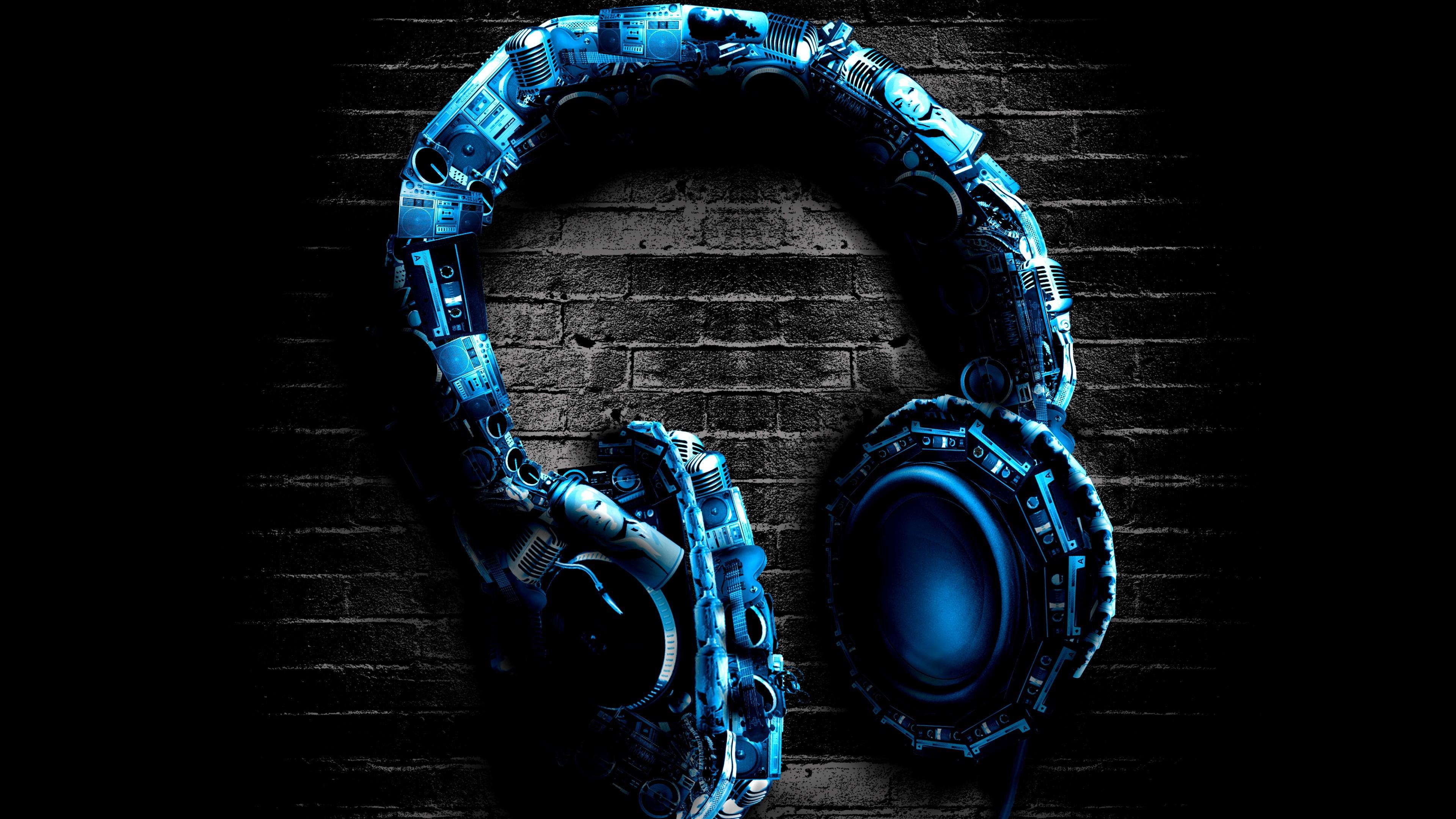 Headphones Stereo Blue Wallpaper
