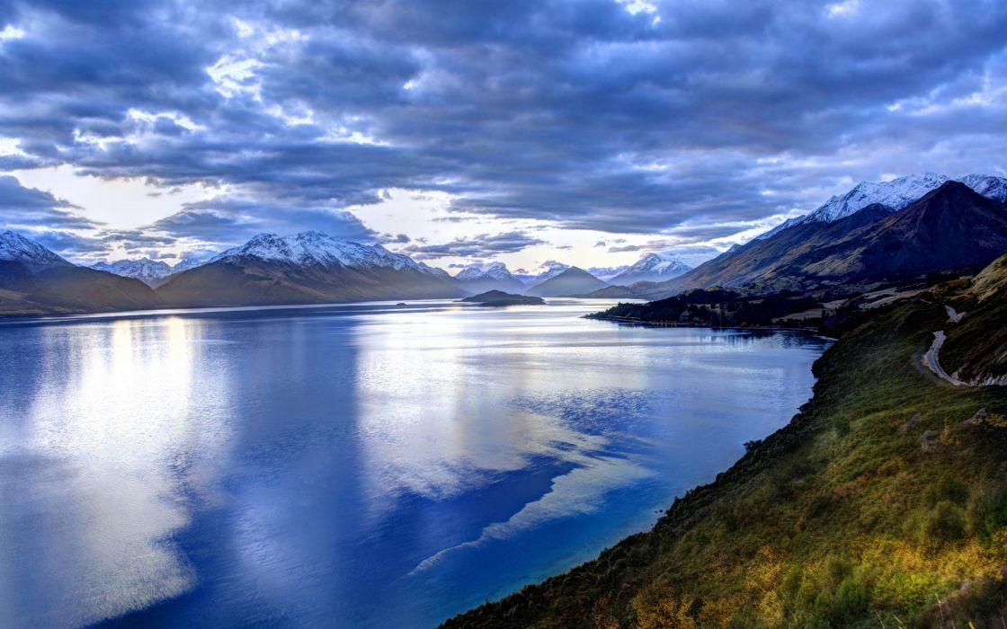 nature landscape mountain lake sky clouds blue reflection snow wallpaper