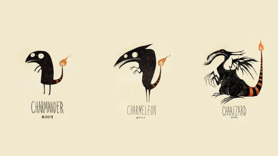 Pokemon Charmander Charmeleon Charizard Drawing wallpaper