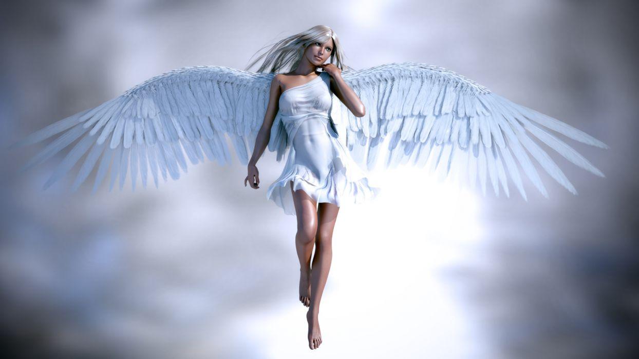 rendering girl angel wings blonde hair face fantasy women females blondes sexy babes wallpaper