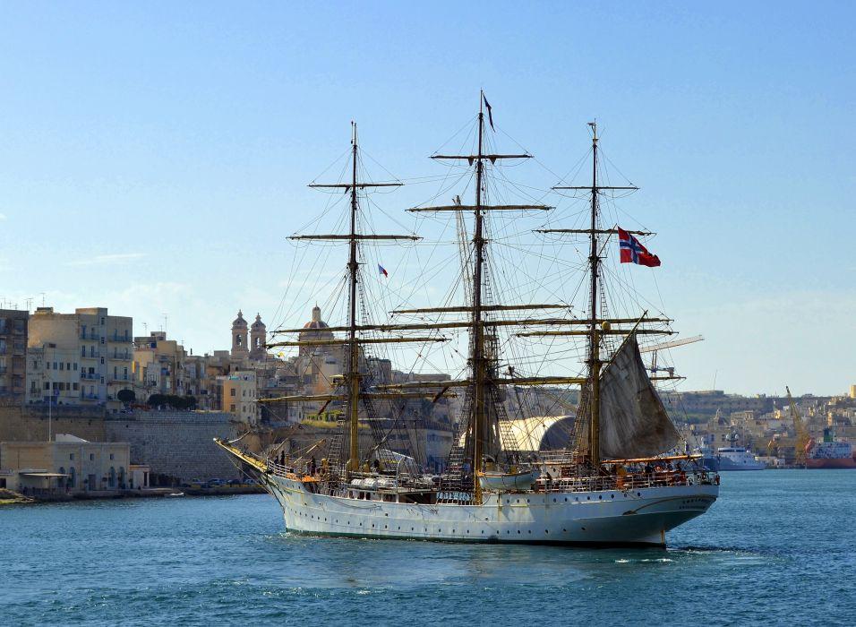 Sailing Ships boats mast cities buildings ocean sea sky wallpaper