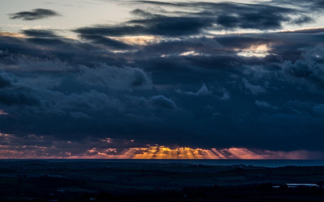 sky clouds sunset sunrise landscapes ocean sea sunlight rays wallpaper